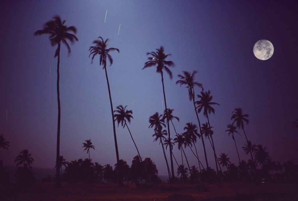 Full Moon on Vagator, Goa, 1976. Photo by Michel Hilzinger